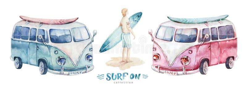 Férias surfando da aquarela Carro da prancha do wirh da praia do oceano do verão projeto da ressaca de Califórnia ilustração stock