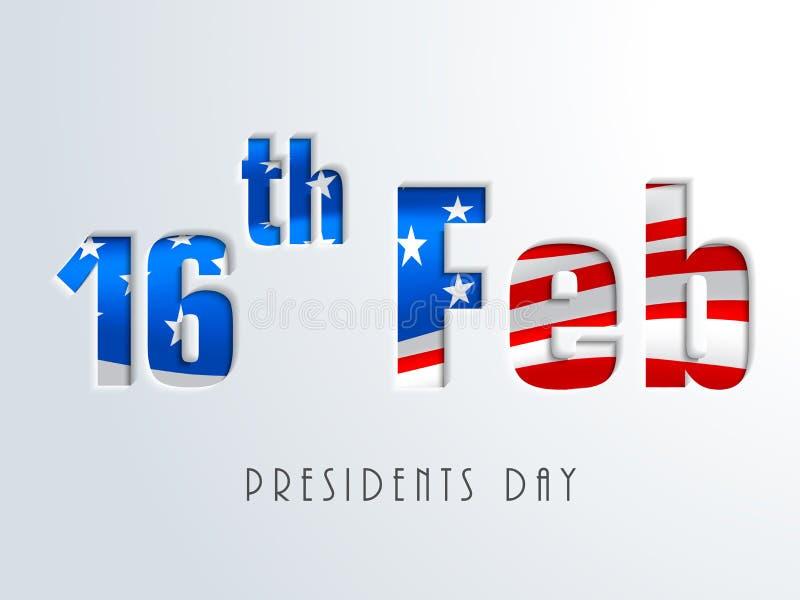 16 février, célébration américaine des Présidents Day illustration libre de droits
