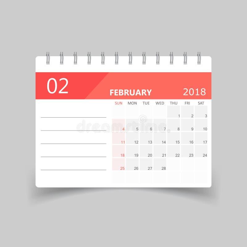 Février 2018 calendrier Calibre de conception de planificateur de calendrier illustration libre de droits