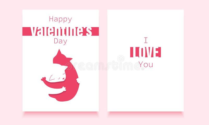 14 février calibre de carte postale avec deux chats étreignants dans l'amour illustration stock