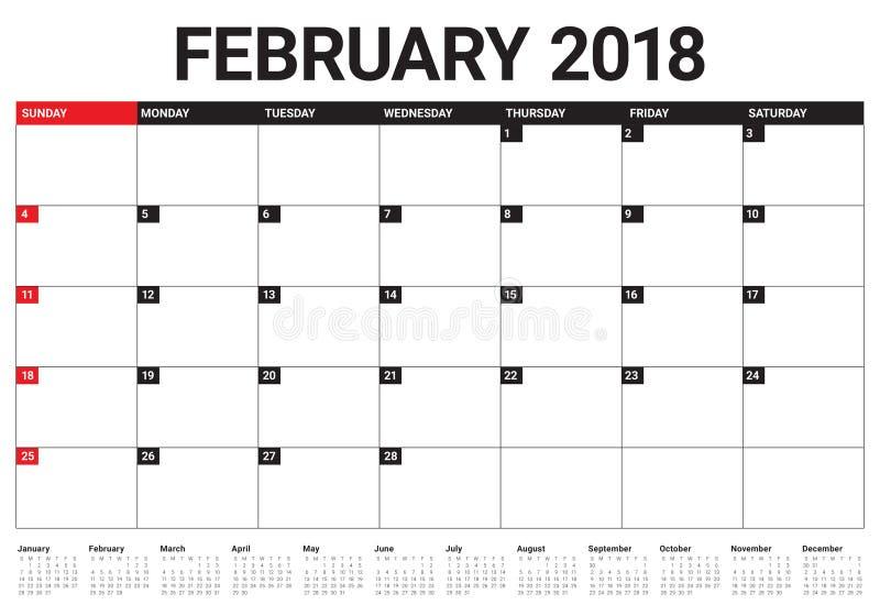 Février 2018 illustration de vecteur de planificateur de calendrier illustration stock