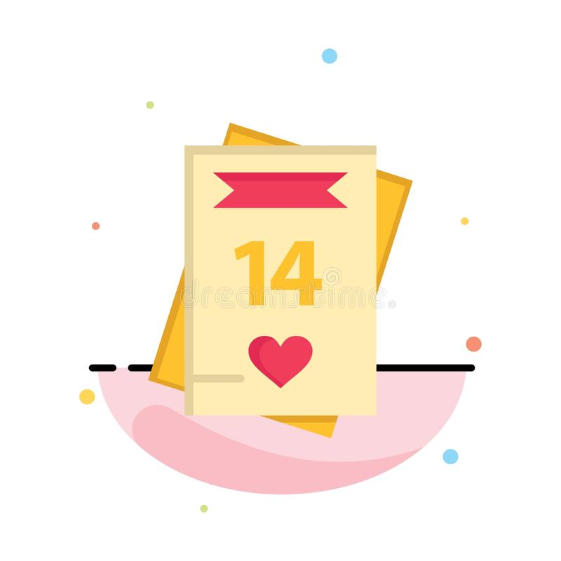 14 février, jour de Valentine's, Valentine, amour, affaires Logo Template de carte couleur plate illustration libre de droits