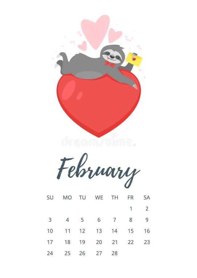 Février 2019 page de calendrier d'année illustration libre de droits
