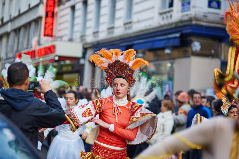 7 FÉVRIER 2016 - PARIS : Carnaval traditionnel de février à Paris, France image libre de droits