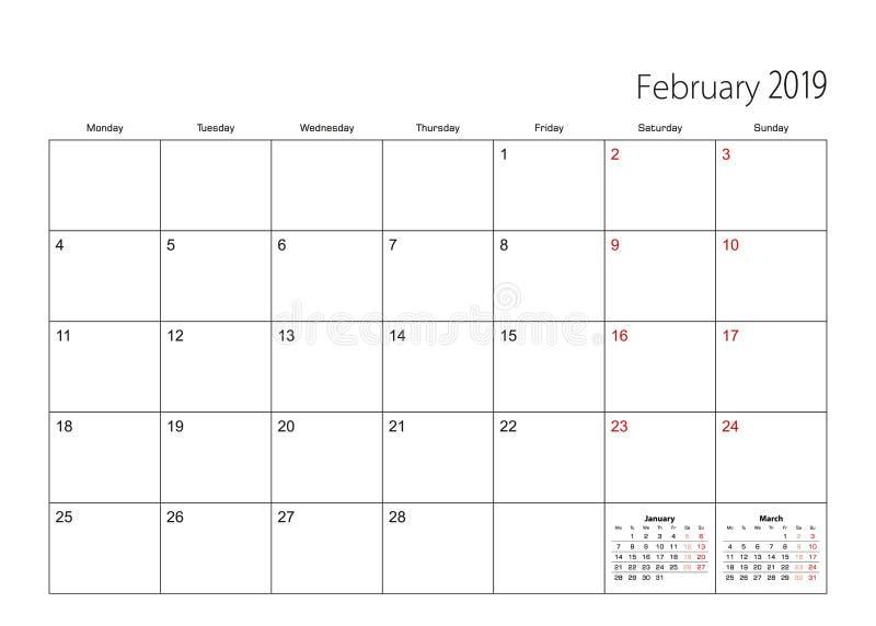 Février 2019 planificateur simple de calendrier, débuts de semaine du lundi illustration stock