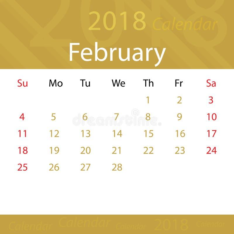 Février 2018 prime populaire d'or de calendrier pour des affaires illustration libre de droits