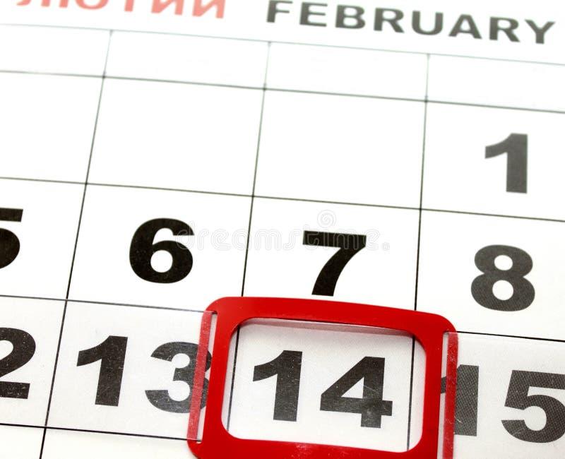 14 février sur le calendrier, Saint-Valentin photo libre de droits