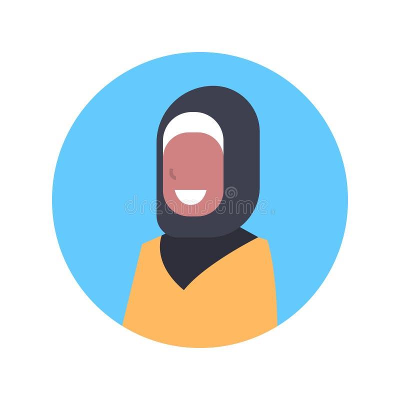 Fêmea árabe do ícone árabe do Avatar do perfil da mulher, senhora muçulmana Face do retrato ilustração stock