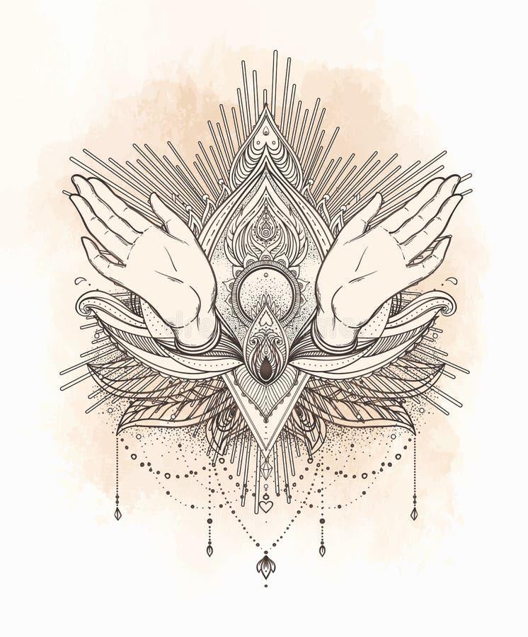 A fêmea aberta cede elementos sagrados do projeto da geometria A alquimia, ilustração stock
