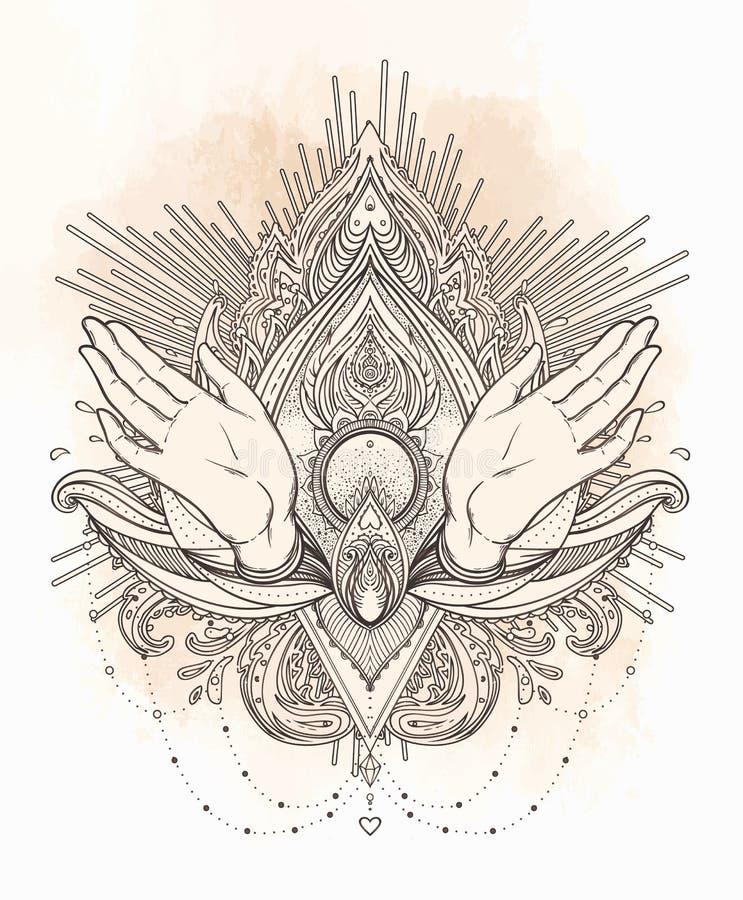 A fêmea aberta cede elementos sagrados do projeto da geometria A alquimia, ilustração do vetor