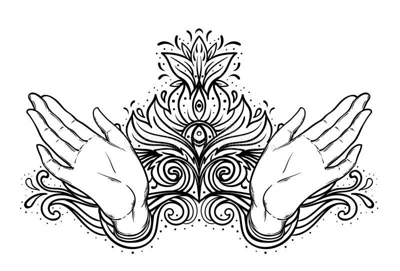A fêmea aberta cede elementos sagrados do projeto da geometria A alquimia, filosofia, símbolos da espiritualidade Ilustração do v ilustração royalty free