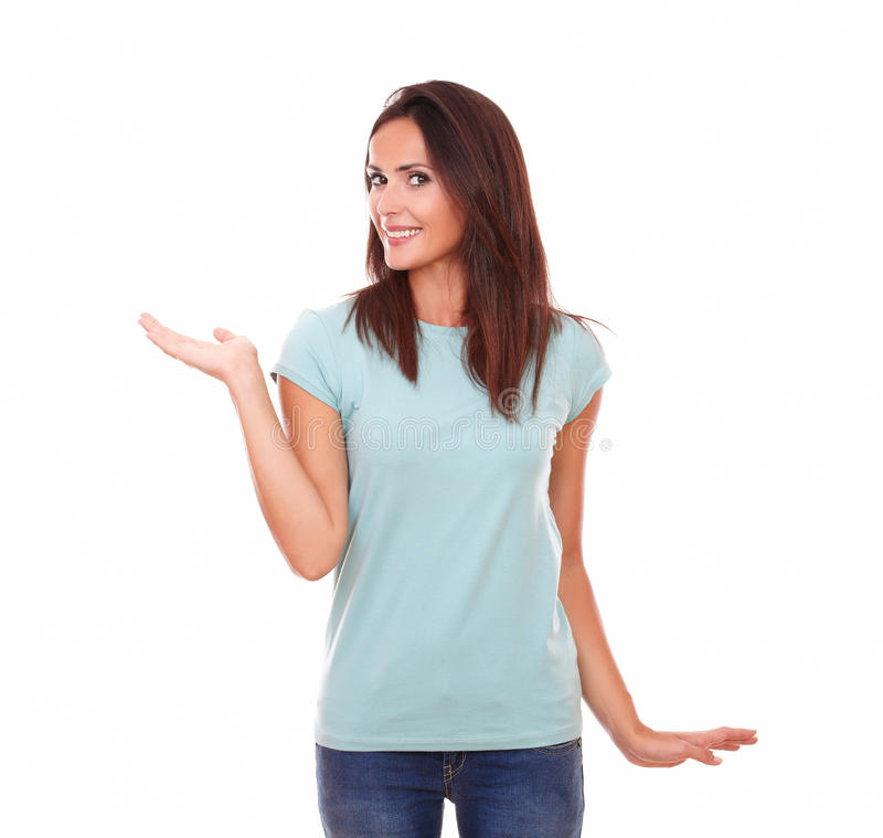 Fêmea adulta 'sexy' que mantém sua palma direita imagem de stock