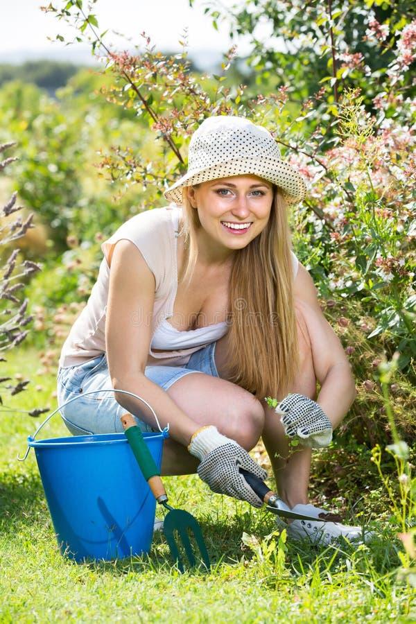 Fêmea alegre que planta flores na jarda foto de stock royalty free