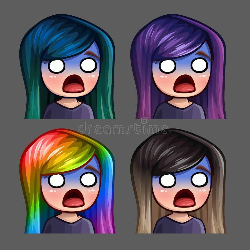 Fêmea assustado dos ícones da emoção com cabelos longos para redes e etiquetas sociais ilustração do vetor