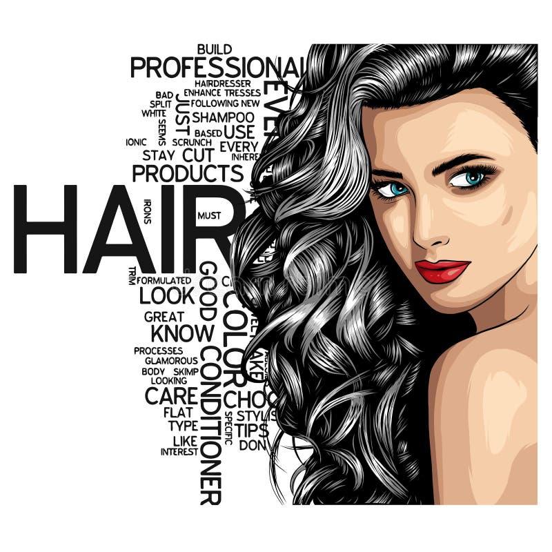 Fêmea atrativa do retrato bonito da mulher com cabelo longo sobre o vetor de espaço de Art Style Background With Copy do PNF do v ilustração do vetor