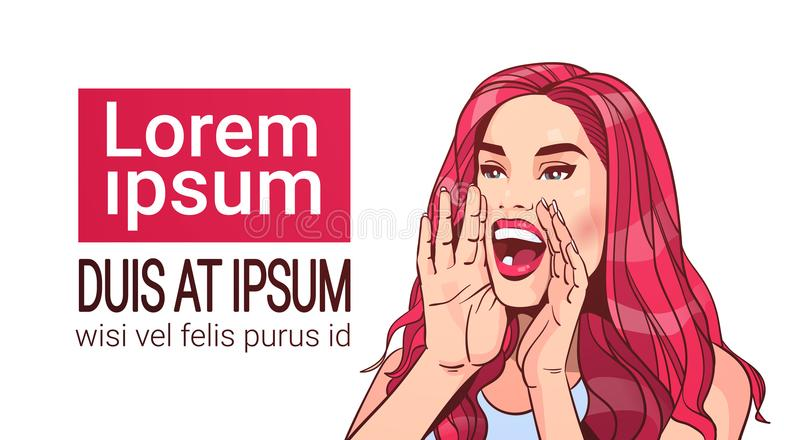 Fêmea atrativa gritando do conceito do anúncio da propaganda da mulher bonita com cabelo vermelho longo sobre o fundo branco ilustração stock