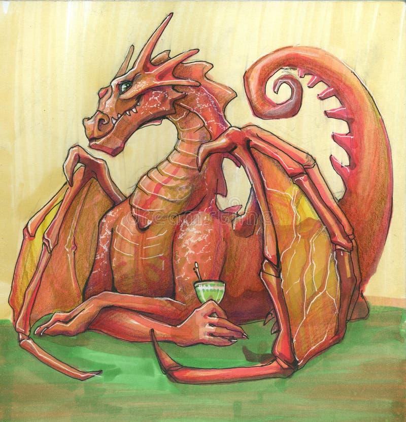 A fêmea bebendo do dragão de um dragão vermelho bebe o cocktail que senta-se na tabela ilustração stock