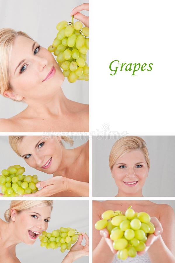 Fêmea bonita com colagem do grupo ou das uvas fotografia de stock