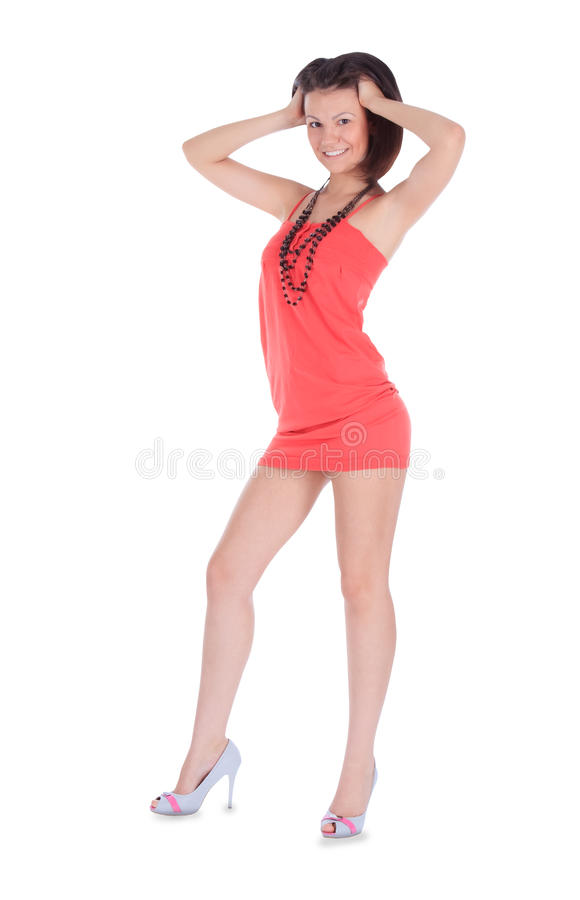 Fêmea bonito no vestido cor-de-rosa isolado imagem de stock royalty free