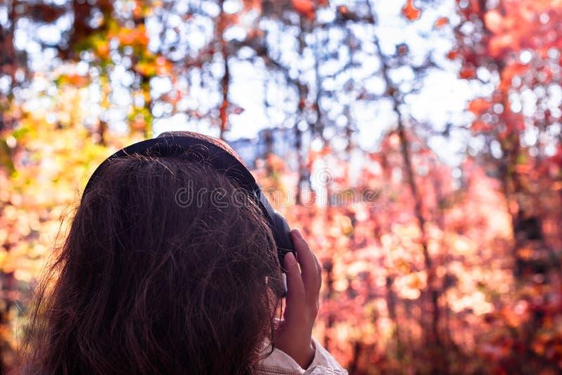 A fêmea com fones de ouvido que anda no parque escuta sons ou música do conceito da floresta do outono Temporada de ver?o indiana foto de stock