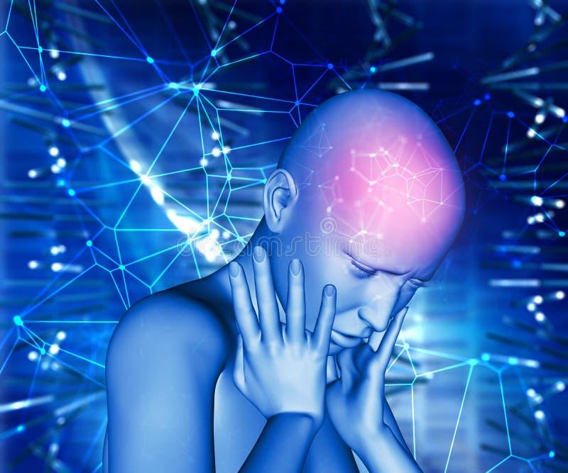 fêmea 3D com dor na cabeça ilustração royalty free