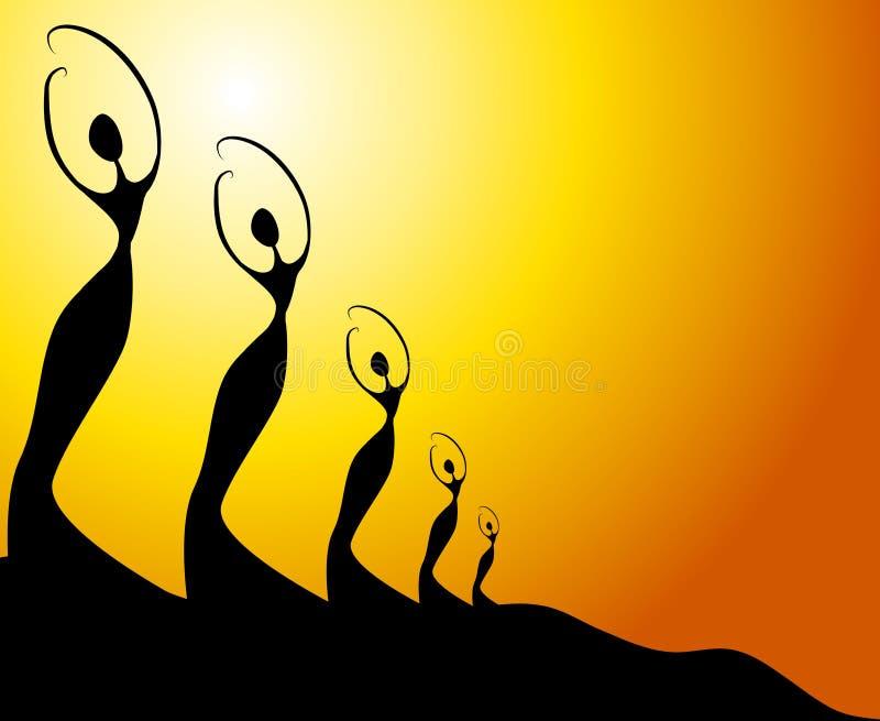 A fêmea da fileira mostra em silhueta o por do sol ilustração royalty free