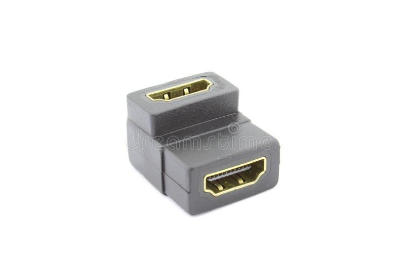 Fêmea de HDMI ao adaptador fêmea 90 graus fotos de stock