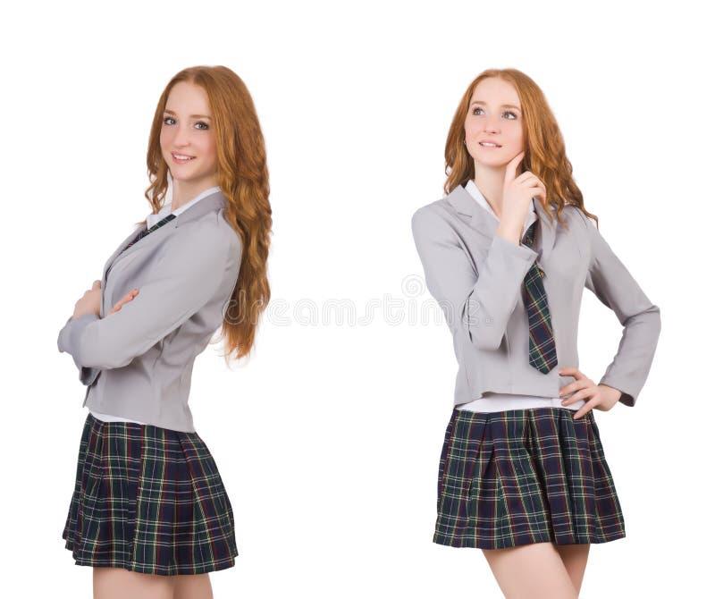 A fêmea de pensamento nova do estudante isolada no branco fotos de stock