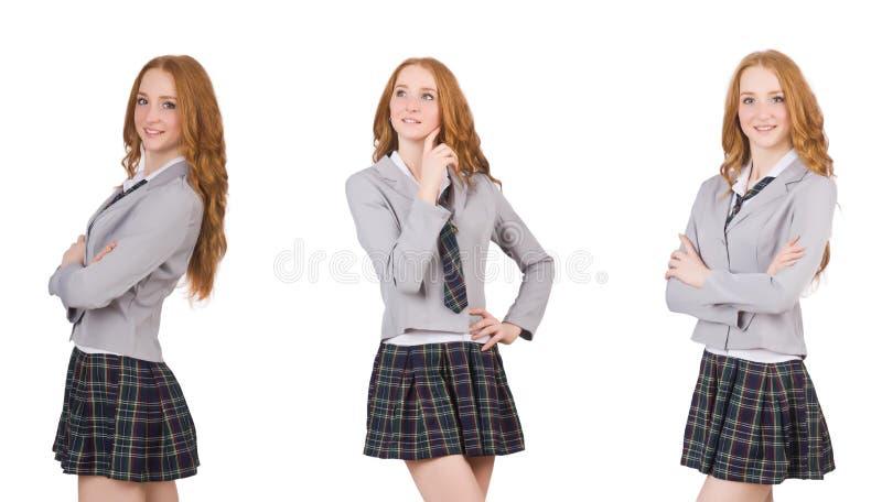 A fêmea de pensamento nova do estudante isolada no branco imagens de stock royalty free