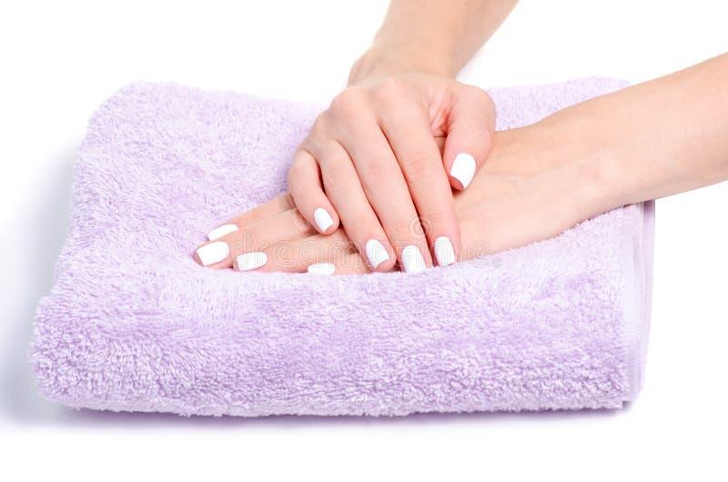 A fêmea de toalha entrega o tratamento de mãos imagens de stock royalty free