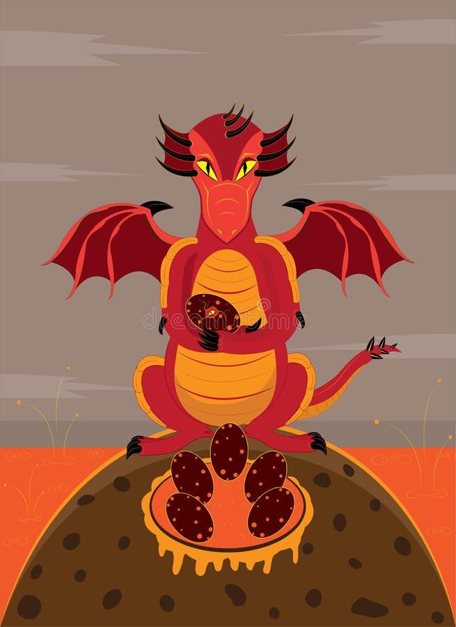 A fêmea de um dragão guarda um ninho dos ovos ilustração stock