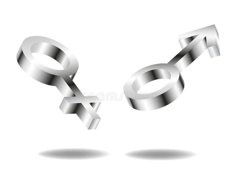 Fêmea do metal e sinal do macho ilustração stock