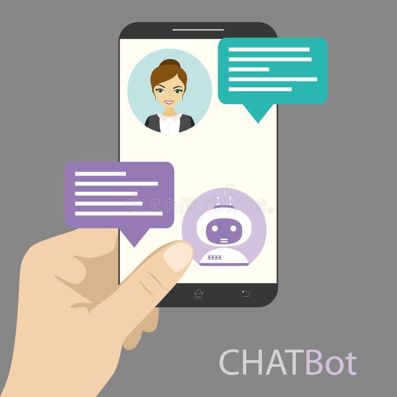 Fêmea e chatbot na tela do telefone celular ilustração stock