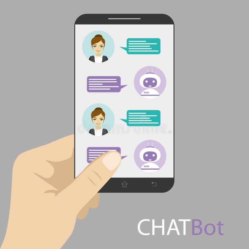 Fêmea e chatbot na tela esperta do telefone ilustração royalty free