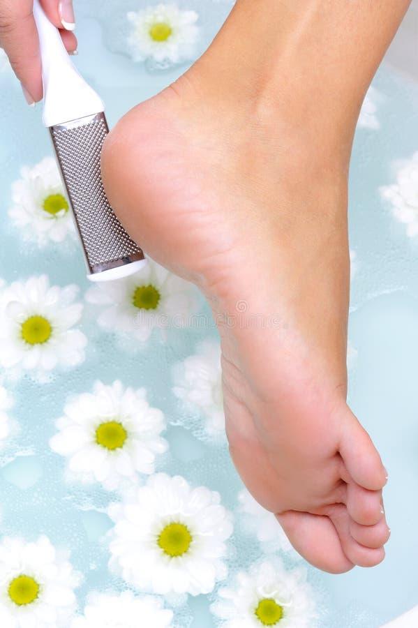 A fêmea esfrega e limpa o pé well-groomed fotos de stock