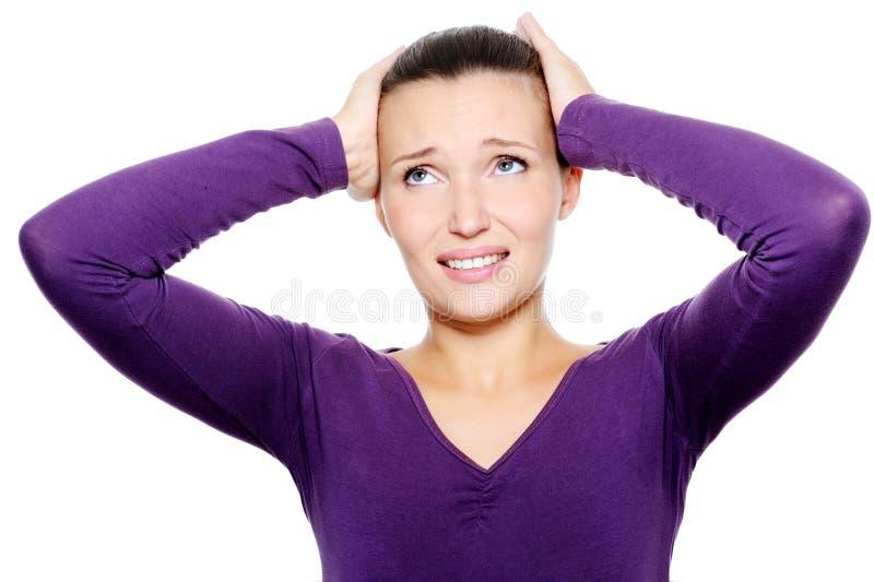 Fêmea esprema sua cabeça da dor de cabeça forte fotos de stock