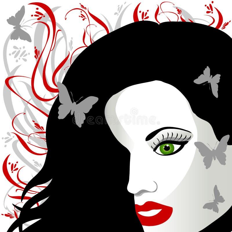 Fêmea Eyed verde do cabelo escuro ilustração stock