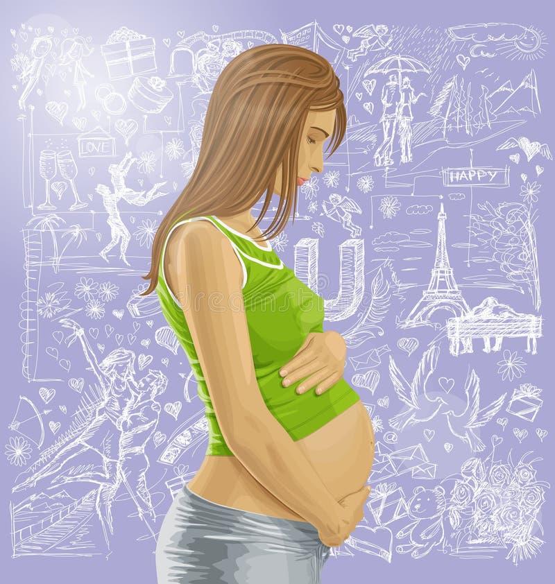 Fêmea grávida com a barriga contra o fundo do amor ilustração royalty free
