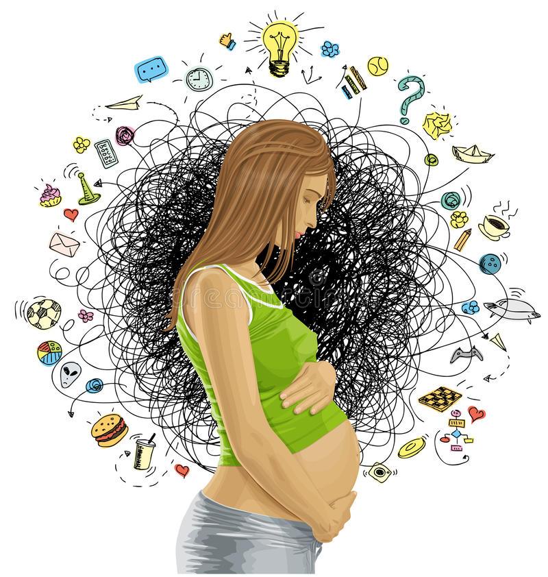 Fêmea grávida do vetor com barriga ilustração do vetor