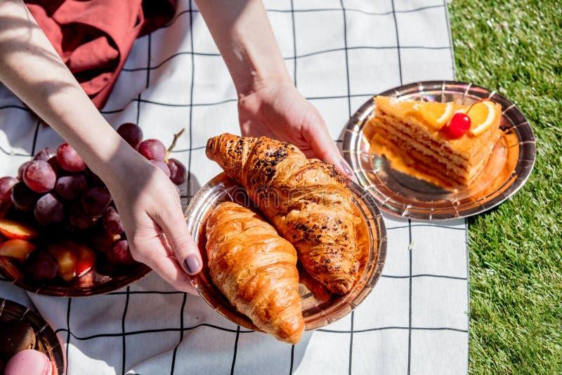 F?mea guardando uma placa com os croissant sobre o bolo e a maca verificada na grama verde fotografia de stock royalty free
