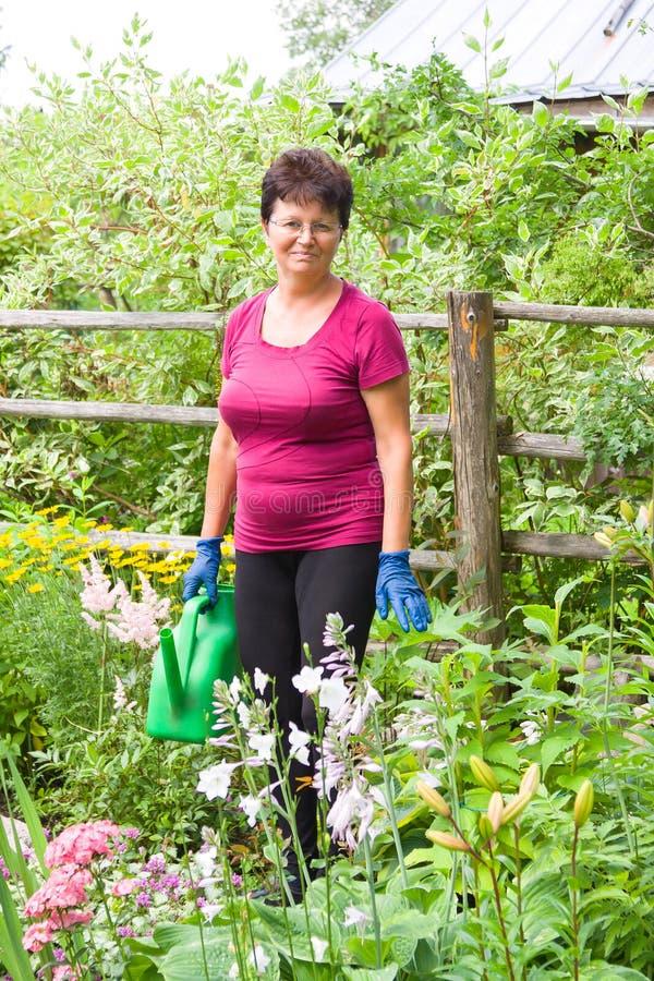 Fêmea idosa de sorriso positiva que toma das plantas no jardim do verão, flores molhando com uma lata molhando foto de stock