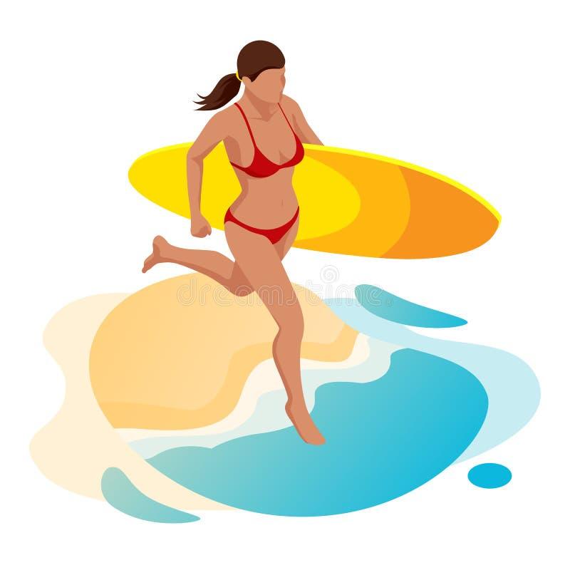 Fêmea isométrica do surfista Surfar em férias de verão Jovem mulher bonita que corre na praia, esportes de água, saudáveis ilustração stock