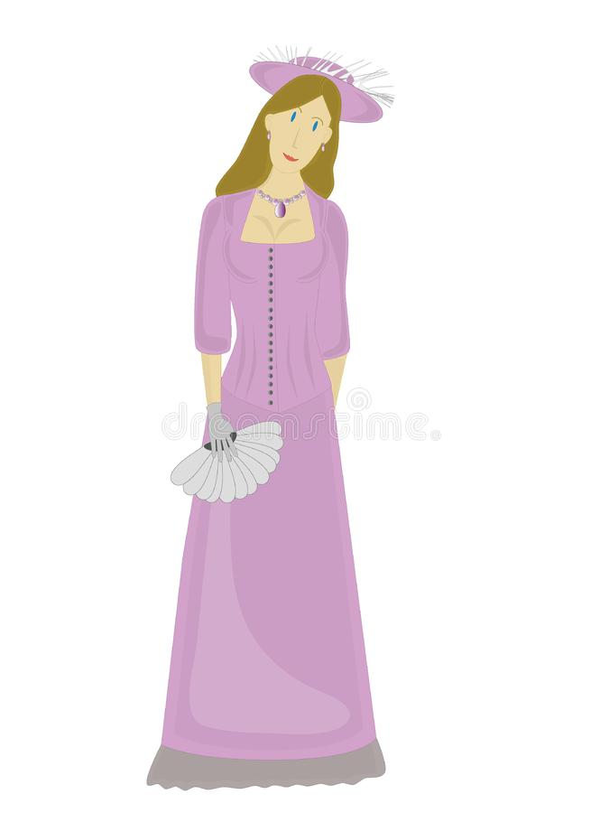 Fêmea magro na alfazema ilustração royalty free