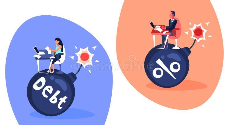 Fêmea masculina dos pares do conceito do risco da crise da finança de débito do crédito da bomba dos por cento do fim do prazo do ilustração royalty free