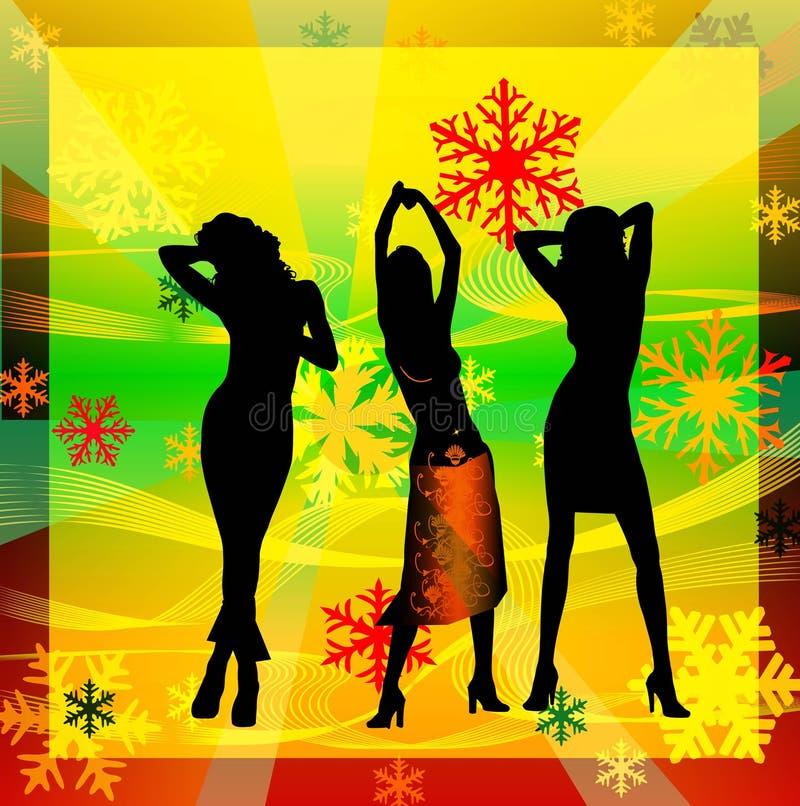 Silhuetas fêmeas que dançam em um disco foto de stock royalty free
