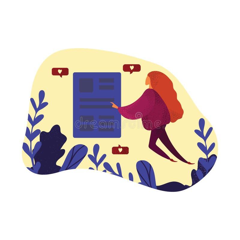 Fêmea, mulher e redes sociais O conceito de trabalhos em rede sociais: gostos, interação ilustração stock