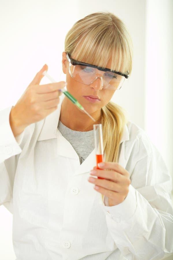 Fêmea no laboratório imagem de stock