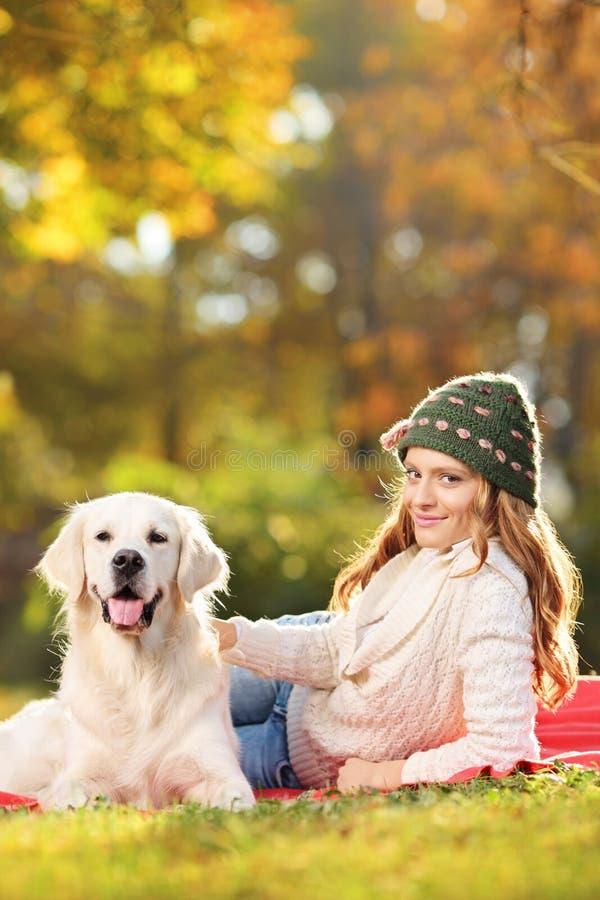 Fêmea nova com seu cão no parque imagens de stock