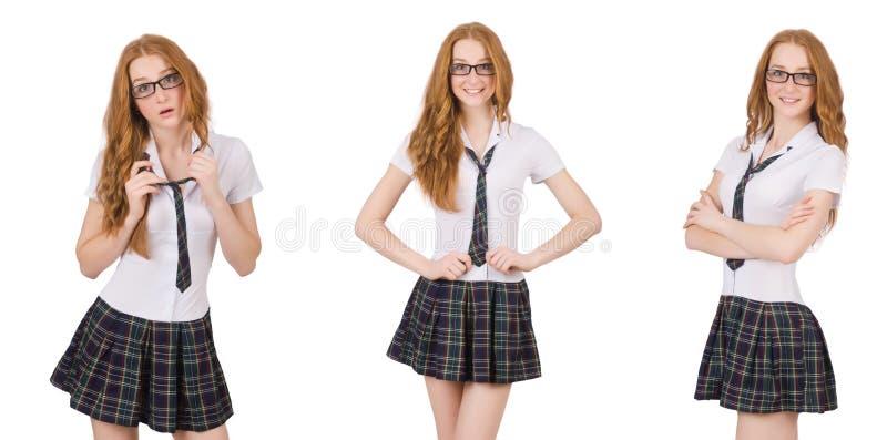 A fêmea nova do estudante isolada no branco imagem de stock royalty free