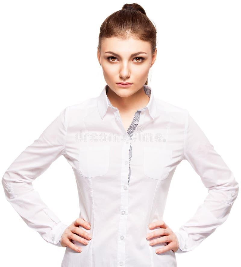 Fêmea nova no fundo branco imagem de stock
